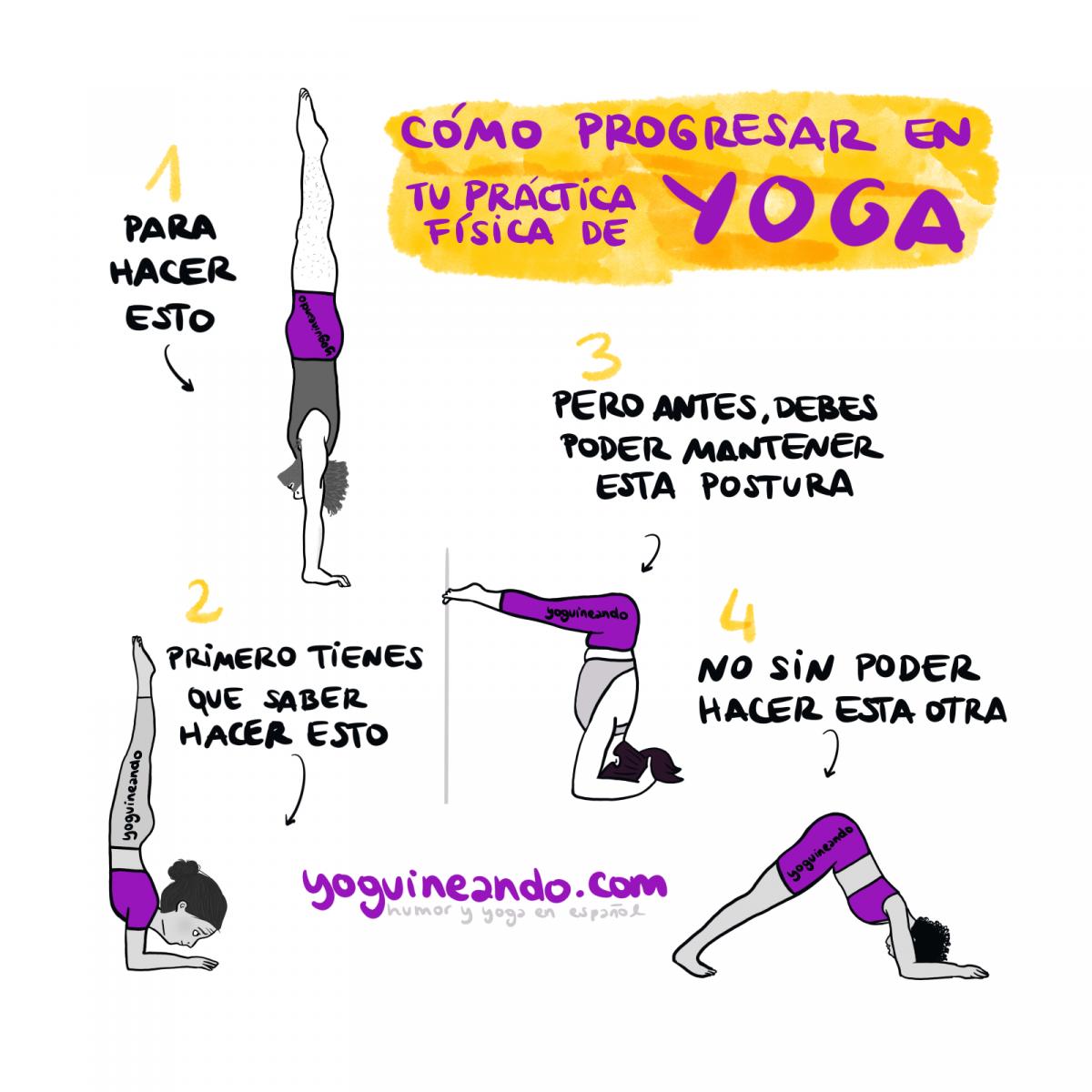 posturas invertidas de yoga de diferentes niveles de más fácil a más difícil