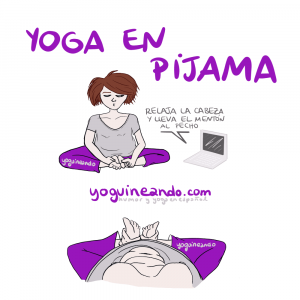 chica haciendo yoga en pijama que se ve los michelines al bajar la cabeza en una postura