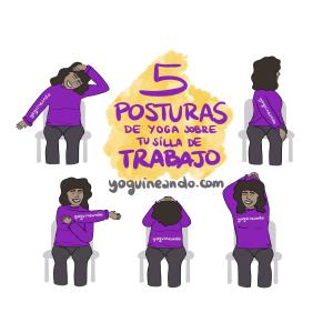 ilustracion blog para hacer 5 posturas de yoga sobre tu silla de trabajo